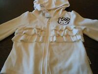 Off White Velour Hello Kitty Hooded Sweatshirt + Girls + With Tags