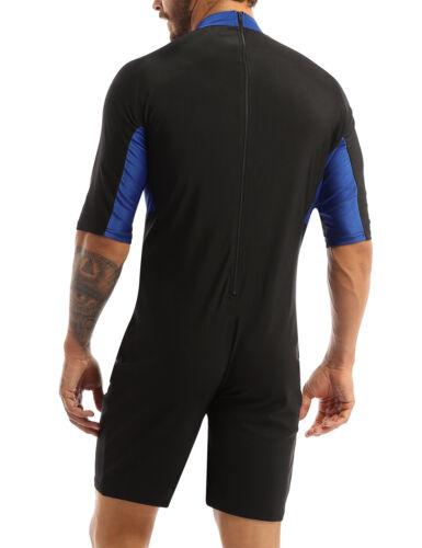 UK Men/'s One-Piece Half Sleeves Bodysuit Leotard Shorty Wetsuit Wetsuit Swimwear