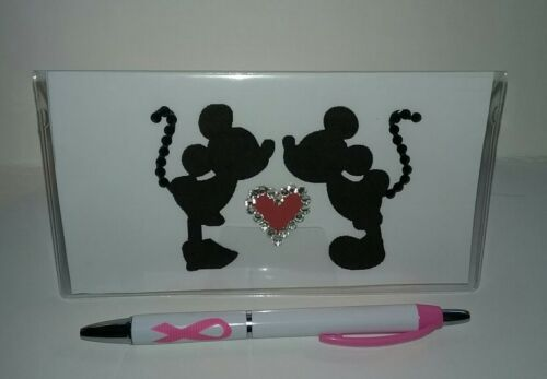 Kissing Mickey /& Minnie Checkbook Cover with Free Awareness Pen