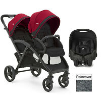 Joie Cherry Red Evalite Duo Tandem Gemm Travel System Double Pushchair & Carseat