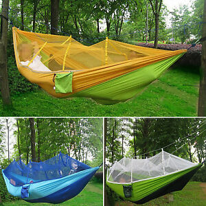 Parachute hammocks jungle camping with mosquito net for Net hammock bed