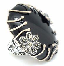 Markasit Onyx großer Ring Größe 52 Silber 925 Sterlingsilber