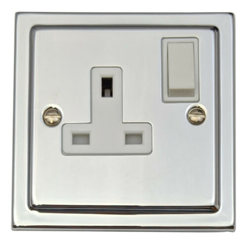 G/&H tc9w Trimline Plaque Chrome Poli 1 Gang Simple 13a switched plug socket