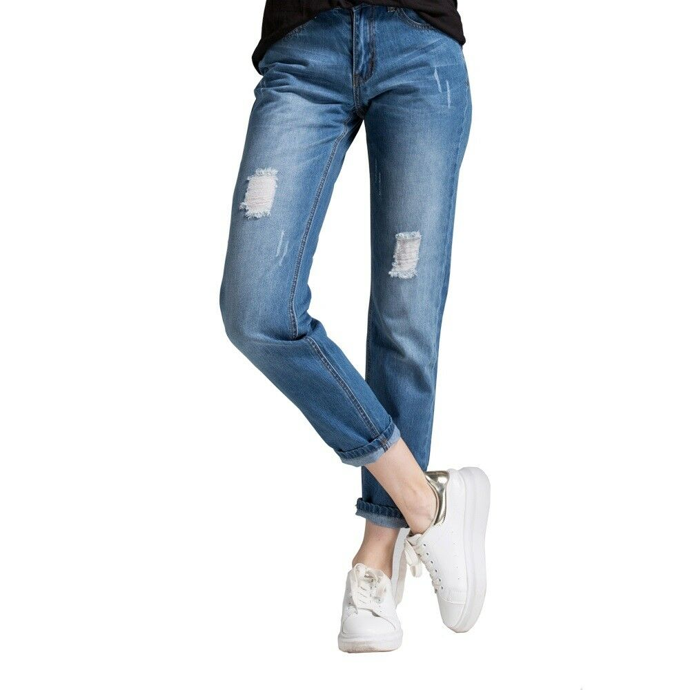 Boyfriend Jeans For Women Jeans Pants Women Mid-Waist Holes Denim Jeans Pants