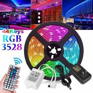 16Ft-3528-RGB-Impermeable-SMD-300-LED-Lampara-de-cinta-Cinta-Flexible-Tira-de-Luz-DC12V
