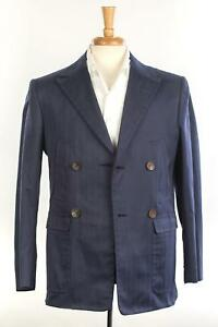 d-039-Avenza-New-Navy-Blue-Herringbone-Cotton-Double-Breasted-Sport-Coat-48-IT-38-US