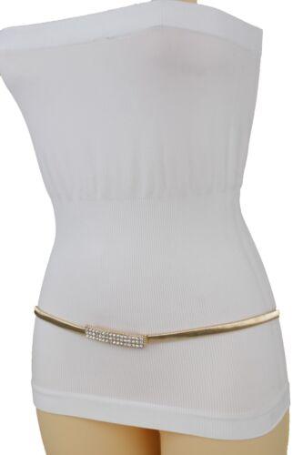 Women Elastic Dressy Belt Stretch Hip High Waist Gold Metal Bling Buckle S M L
