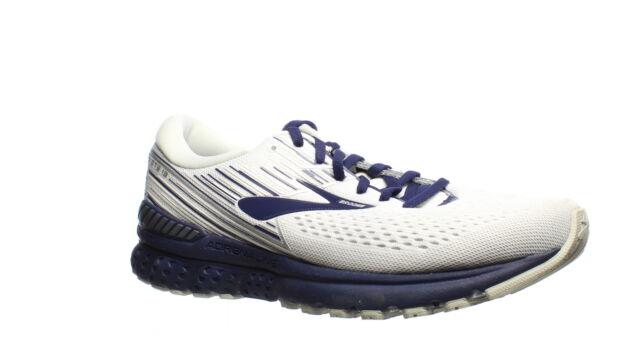 Brooks Mens Adrenaline Gts 19 White/Grey/Navy Running Shoes Size 10 (1410971)