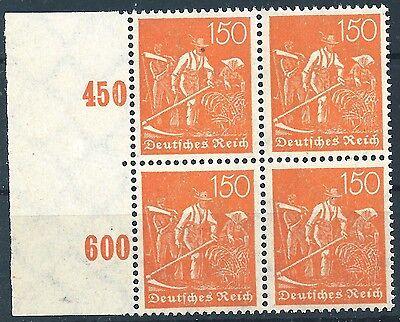 189 Im Viererblock Vom Linken Plattenseitenrand Postfrisch 2 Schneidig Minr