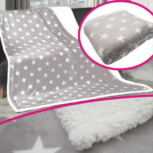 Wohndecke 150x200cm Grau Sterne Kuscheldecke Winter Decke Bettdecke Tagesdecke