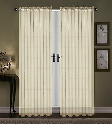 """SET OF 2 SHEER VOILE CURTAINS 90/"""" LONG GOLD"""