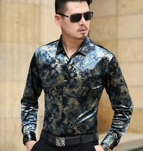 1f04707f Image is loading Fashion-Mens-Silk-Velevt-Floral-Casual-Shirts-Business-