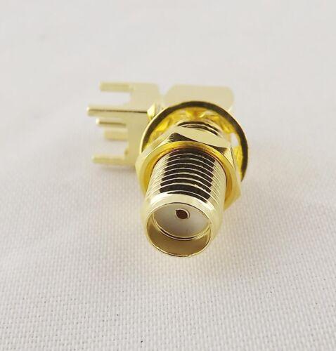 100pcs SMA Female Jack Thru Hole PCB Mount Bulkhead Right Angle RF Connector
