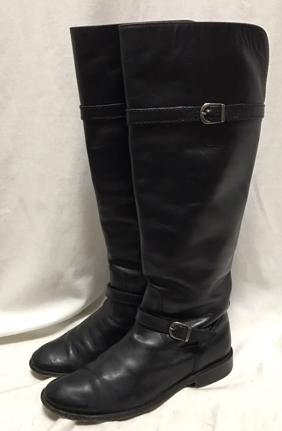 Frye Knee High Riding stivali Wouomo 5.5 nero Leather Equestrian Shirley Pull On