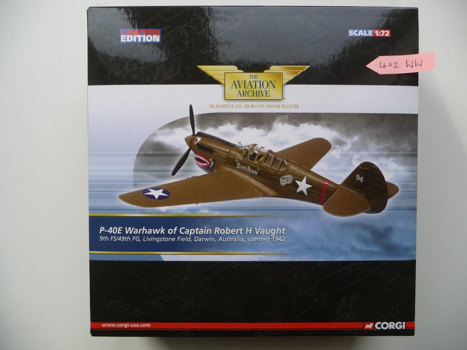 NEW Corgi Aviation US35212, P-40E Warhawk of Captain Robert H Vaught 9th FS 49th