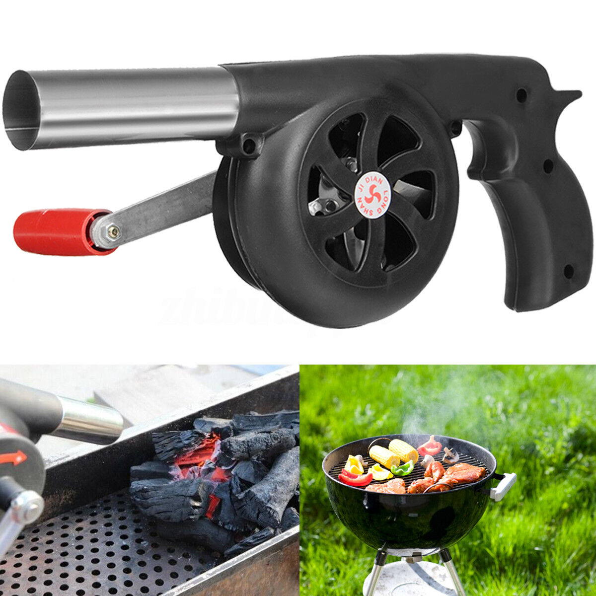 Outdoor Wood Fireplace Hand Barbecue BBQ Air Fire Blower Cooking Stove Bellows C