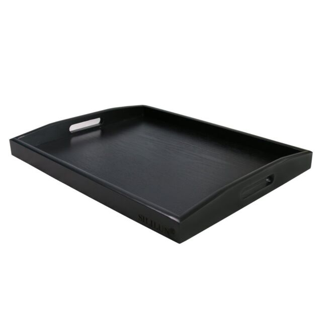 Sililun Serving Tray Black Large Food Breakfast Wood Butler With Handle 17 77 X