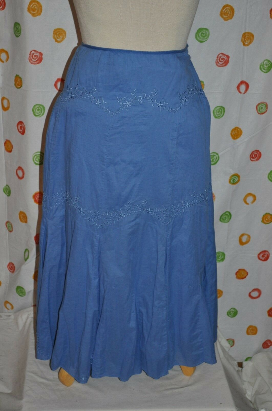 REBA WOMENS 12 blueE fancy design  A CUT BOHO FREE FLOWING lined SKIRT EUC