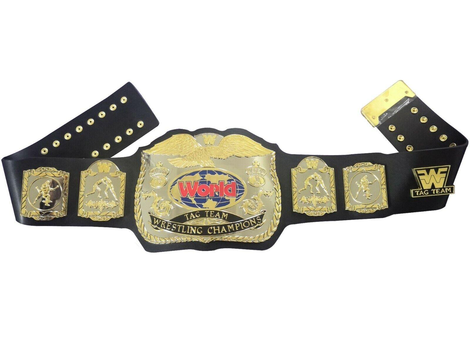 2019 Newest  World World World TAG TEAM Wrestling Champions Belt Adult Size FWF DUAL PLATED ec29f0