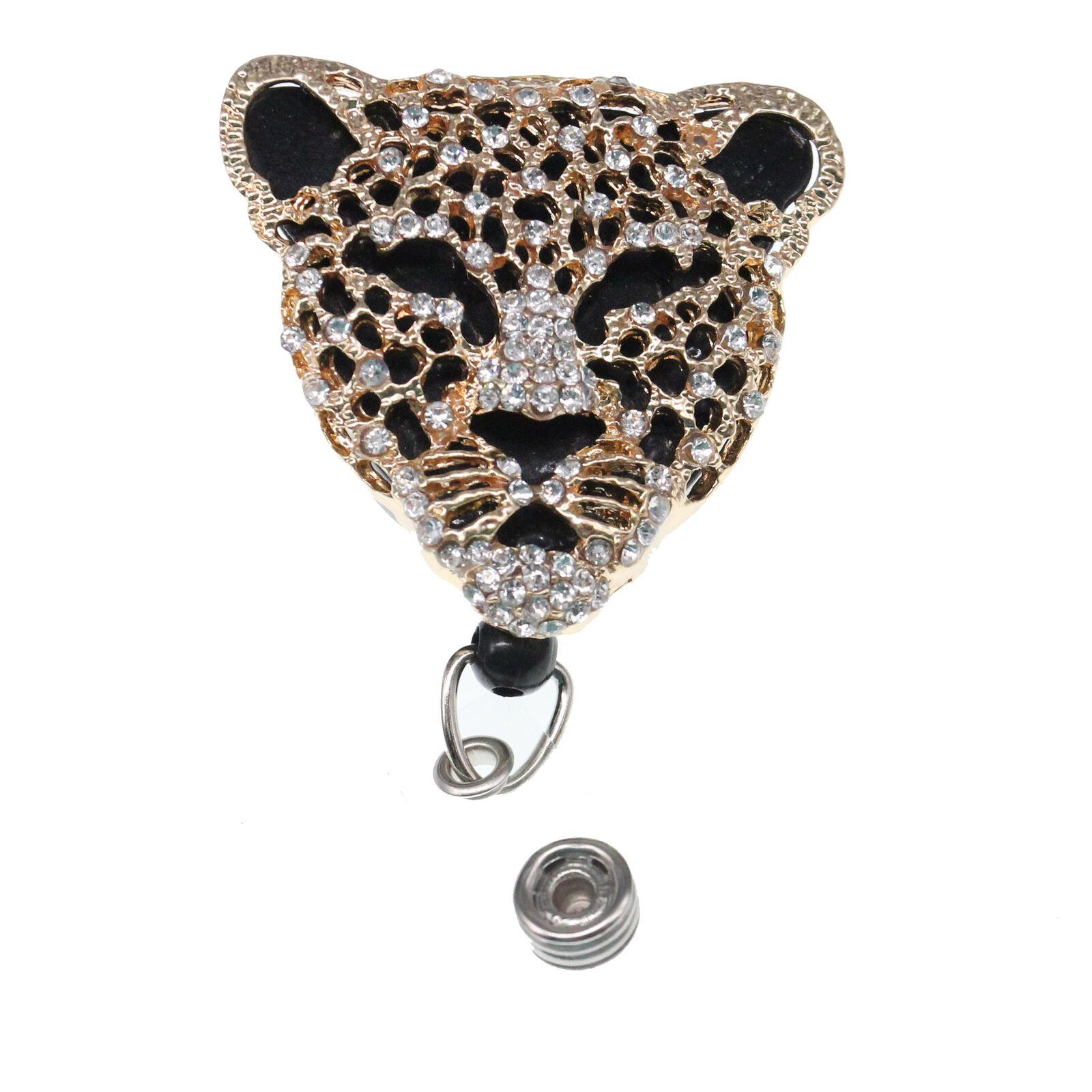 Animal Leopard Shape ID Badge Holder Reel For Office / Student/Teacher