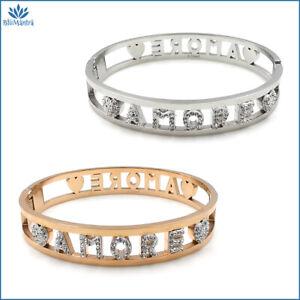 Bracciale da donna braccialetto rigido a manetta con scritta amore in acciaio