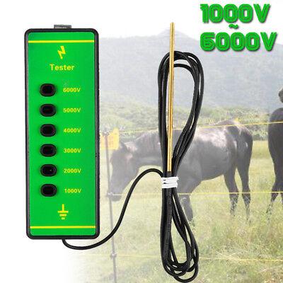 Electric Fence Voltage Tester Fencing Current Testing Energiser with Probe 6000V