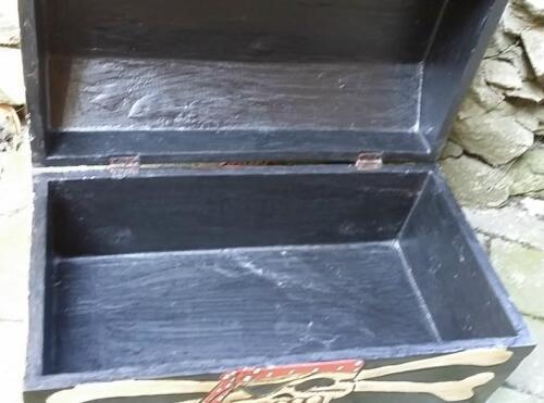 Holzkiste Kiste Schatz Truhe 28//,5 x16cm Truhe Schatulle Piraten Pirat totenkopf