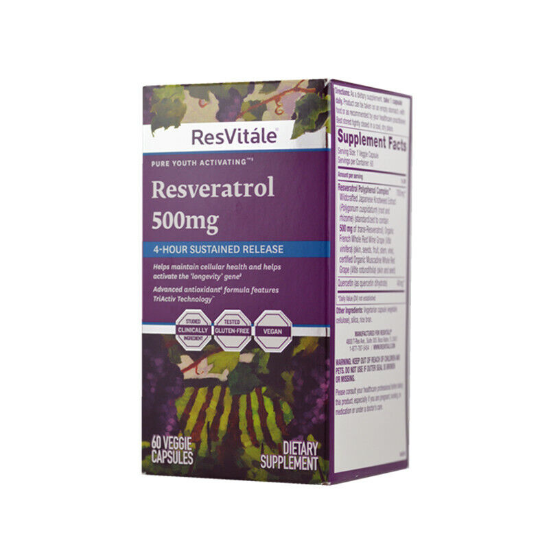Resvitale Resveratrol 500mg 60 Capsules Sustained Release Exp 20