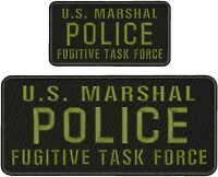 U.s. Marshal Police Fugitive Task Force Emb Patch 4.75x11&3x6hook/back/bla/od