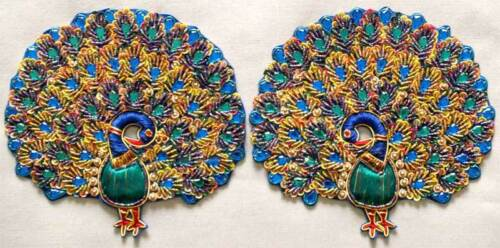 Hand-Beaded /& Embroidered Appliques 2 Grand Peacocks
