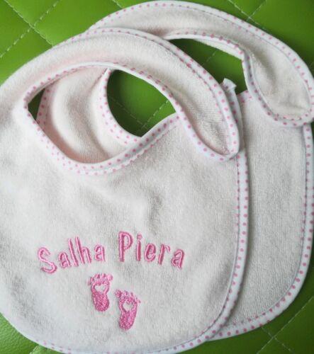 2x gleich bestickte Baby Lätzchen mit Namen oder Wunschtexte pink