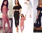 Womens Ladies 2 Piece Frill Bardot Crop Top and Legging Trouser Set Sizes 8-6