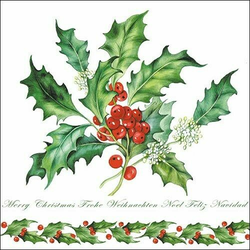 20 X Paper Party Napkins Holly Branch White 20 3 Ply Luxury Tissue Serviettes