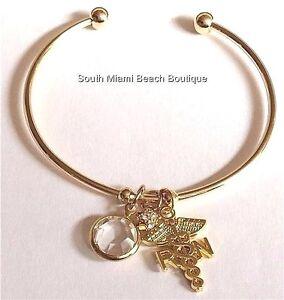 Image Is Loading Rn Nurse Charm Bracelet Caduceus Nursing Graduation Gift