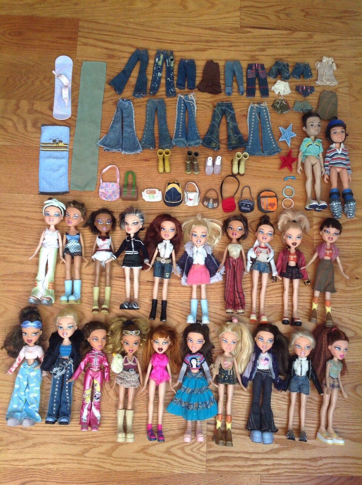 Masse 20 ORIGINAL 10  Girl BRATZ Dolls in OUTFITS + schuhe + ACCESSORIES + Two BOYS