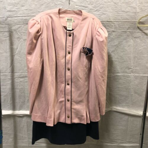 Vintage Women's Suit Pink Blazer and Black Skirt b