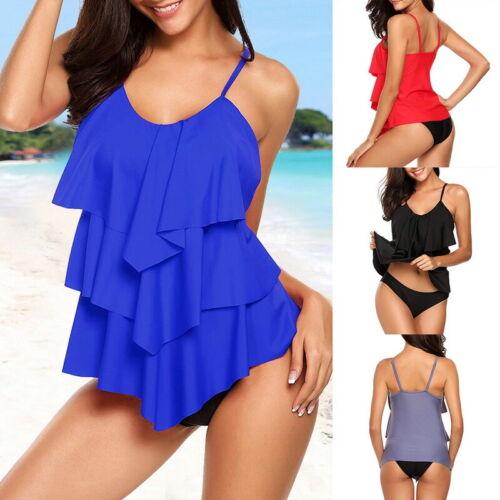 Damen  Set Push Up Rüschen Bademode Badeanzug Schwimmanzug Tankini Kleid