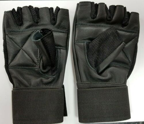 Finger Less Cycling 100/% Leather Gloves Gym Driving, Training Wheelchair