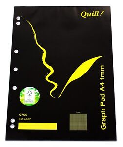 Quill A4 Graph Pad 1mm 40 Leaf 10517