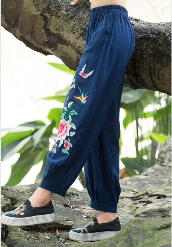 Womens Embroidery Loose Pants Cotton Linen Ethnic Casual Wide Leg Trousers Retro