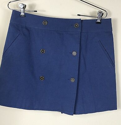 Avon Womens Blue 6 Button Front Wrap Skirt Lined Front Pockets Size 10-12 Nwot Good For Antipyretic And Throat Soother Skirts