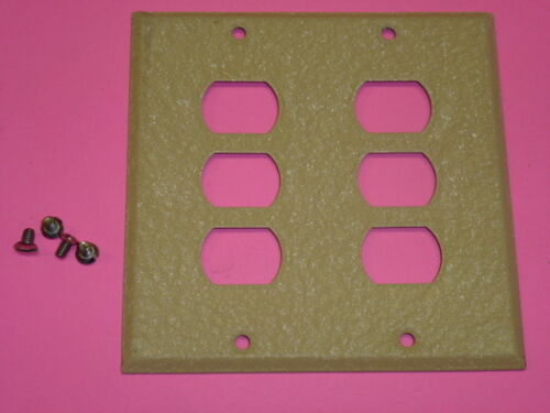 BELL INTERCHANGE 2-GANG IVORY CRACKLE WALL PLATE NOS HORIZONTAL 6-HOLE 19-2-IC