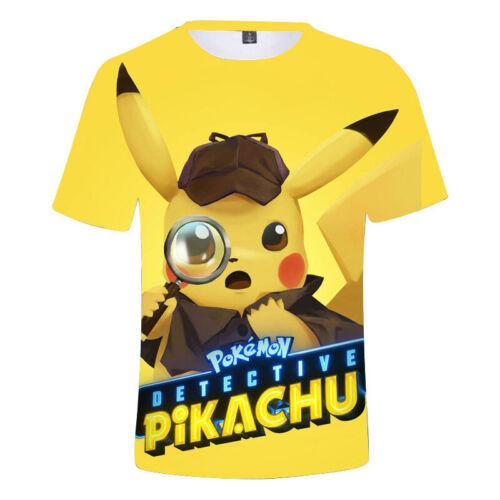 Pikachu 3D Boys Girls Kids Short Sleeve T-shirt Tee Shirt Tops Costume Age 3-11Y