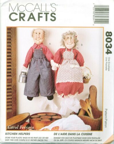 McCalls 8034 Kitchen Helpers Bag Holders 21 inch Sewing Pattern UNCUT FF NEW