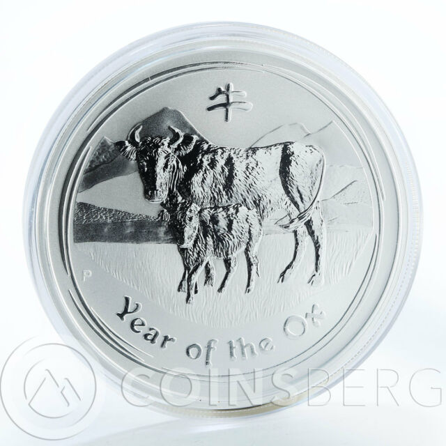 Australia, 2 Dollars, Year of the Ox, 2 Oz Silver coin, 2009, Brilliant UNC