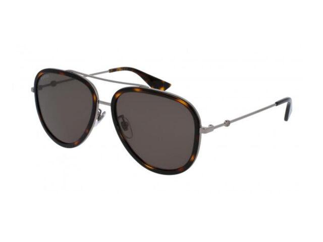 eea1d52bc0b Gucci Gg0062s 002 Havana Ruthenium Metal Aviator Sunglasses Green ...