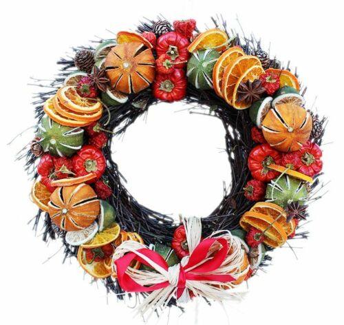 Grandes frutos secos Navidad Festivo CORONA DE PUERTA CORONA Anillo de rama Navidad Fragancia 35CM