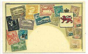 Vintage-TASMANIA-STAMPS-on-a-Embossed-Postcard