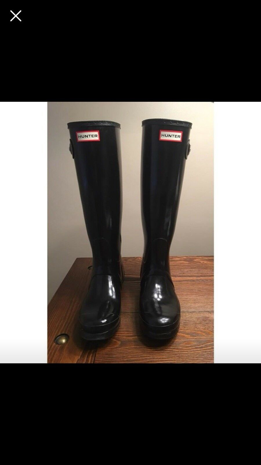 womens black hunter boots size 8