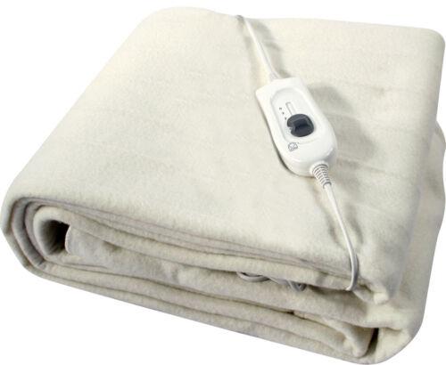 King Size Electric Heated Under Blanket 3 Heat Settings Warm Night Washable